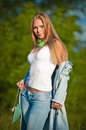 Free Portrait Of Beautiful Young Girl In Jeans Outdoor Royalty Free Stock Photo - 25126445