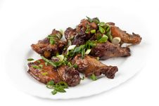 Free Fried Chicken Legs With Green Onions Stock Photos - 25122743