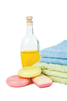 Oil, Soap And Towel On A White Background Stock Image