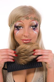 Girl With A Professional Make-up With Fur Stock Photo