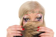 Girl With A Professional Make-up With Fur Royalty Free Stock Images