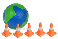 Free Globe And Emergency Cones Royalty Free Stock Photography - 25131457