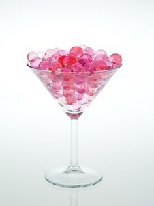 Transparent Pink Glass Beads Stock Photos