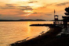 Evening Sunset On Beach Stock Photography