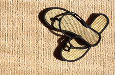 Free Flip Flop On Jute Stock Photo - 25136340