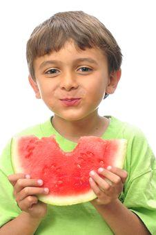 Free Boy Eating Watermelon Royalty Free Stock Image - 25139446