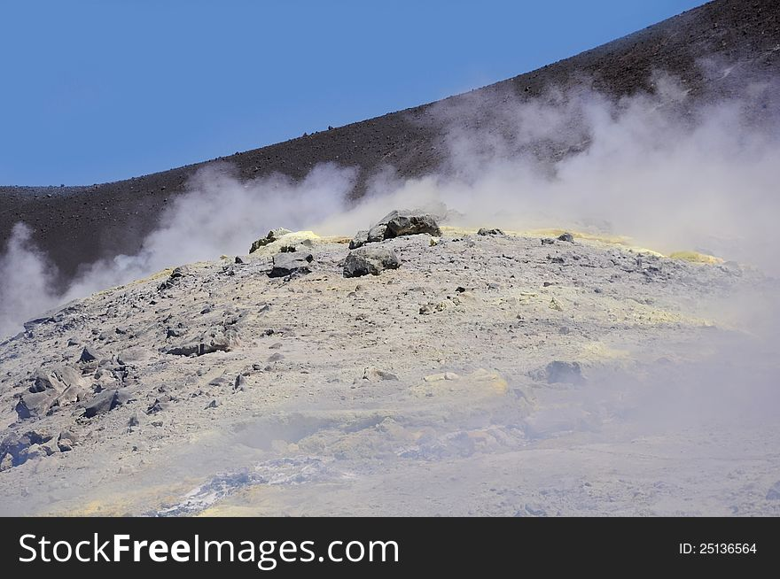 Crater of the volcano.