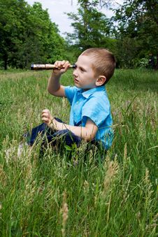 Free Boy Plays On The Nature Stock Image - 25140831