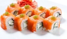 Free Sushi Roll With Red Fish Closeup Royalty Free Stock Photos - 25149268