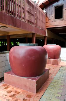 Big Jars In Thai Style House Stock Photo