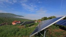 Free Photovoltaic Solar Plant In The Mountain. Stock Images - 25151394