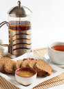 Free Composition With Kettle, A Cup And Bread Stock Photo - 25165280