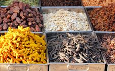 Free Dry Fruits & Spices Displayed For Sale In A Bazaar Stock Photos - 25162743