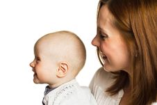 Free Portrait Of Mother And Child In Profile Stock Photography - 25164862