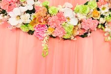 Free Beautiful Flowers Blossom On Pink Curtain Backgrou Royalty Free Stock Photography - 25171627