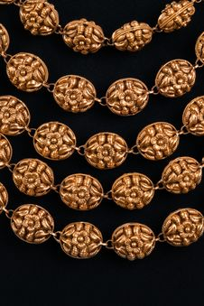 Close-up Of Gold Necklace Royalty Free Stock Photos