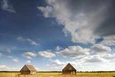 Free Two Barn In The Field Royalty Free Stock Image - 25173546