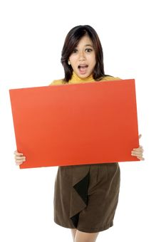 Woman Hold Banner Stock Image