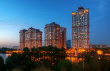 Inhabited Skyscrapers At Night In Moscow Stock Image