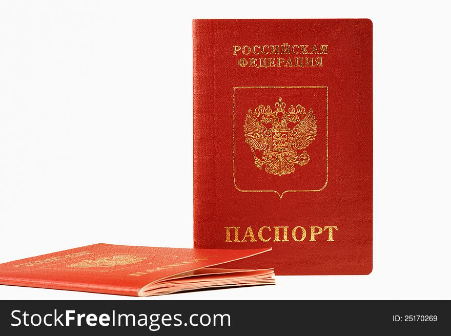 Two passports of foreign, isolated on white backgr