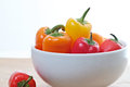 Free Colorful Mini Sweet Peppers In A White Bowl Stock Photos - 25192403