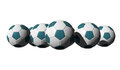 Free 3D Rendered Cyan Soccer Balls Royalty Free Stock Photo - 25199445