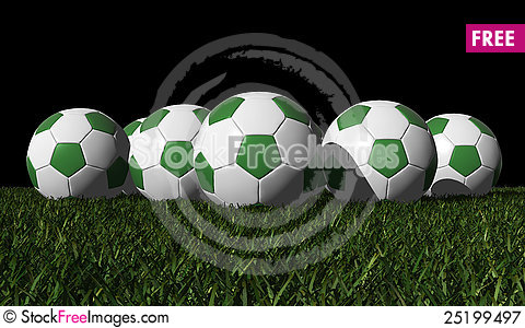 Free Green Soccer Balls On A Green Grass Royalty Free Stock Photography - 25199497