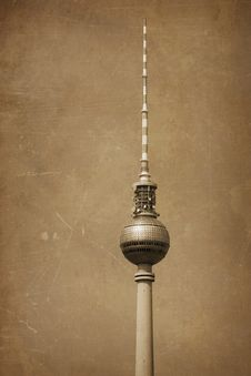 Television Tower In Berlin With Grunge Texture Royalty Free Stock Photo
