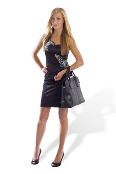 Beautiful Young Female Model Holding Bag Posing Stock Photos
