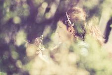 Retro Style Picture Of A Girl With Flowers Royalty Free Stock Images