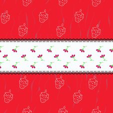 Pattern With Strawberries Stock Photo