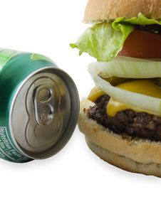 Burger And Soda Royalty Free Stock Photography