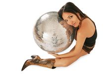 Woman And Discoball Royalty Free Stock Image