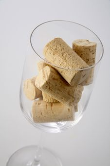 Glass With Corks Royalty Free Stock Photography
