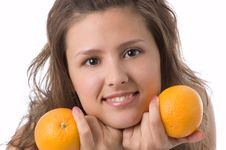 Free The Girl With Oranges Royalty Free Stock Photography - 2522637