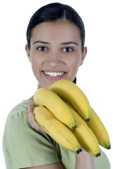 Free Girl With Bananas Royalty Free Stock Images - 2523279