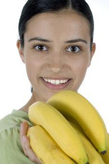 Free Girl With Bananas Stock Photo - 2523290