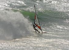Free Fast Moving Windsurfer Royalty Free Stock Photography - 2525877