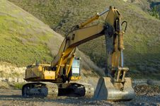 Free Track-hoe Hill Behind Royalty Free Stock Photo - 2528735
