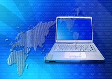 Free Laptop And Blue World Map Royalty Free Stock Photography - 2529077