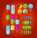 Free Shiny Colored Medic Pills Symbols Set Stock Photography - 25208012