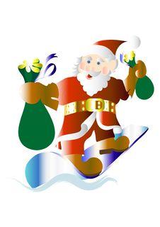 Free Happy Santa On A Snowboard Royalty Free Stock Photo - 25208315