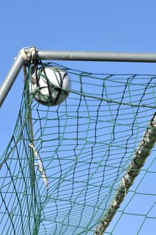 Free Football In The Goal Net Stock Photo - 25208730