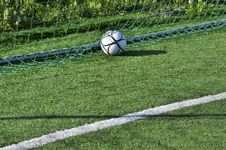 Free Football In The Goal Net Royalty Free Stock Images - 25208769