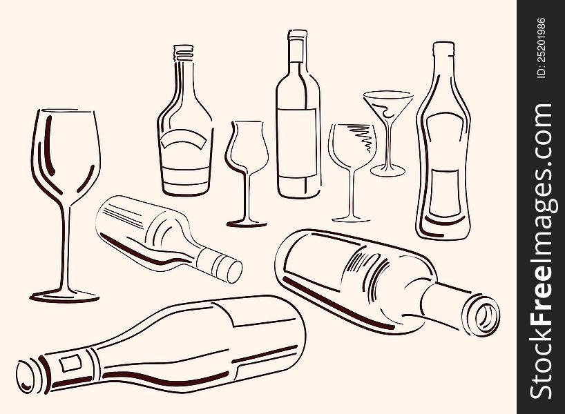 Goblets and bottles