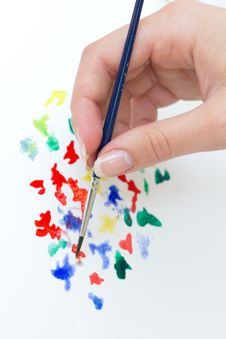 Hand With Brush Royalty Free Stock Image