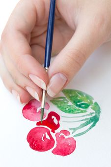 Watercolor Cherry Stock Image