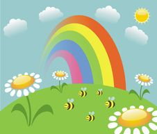 Free Rainbow  And Bees Royalty Free Stock Image - 25213666