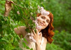 Free Woman In Summer Garden Royalty Free Stock Photos - 25215018
