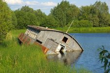 Landscape With Drift Barge Stock Photos